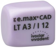 IPS E.MAX CAD MONOLITHIC SOLUTIONS LT (Basse Translucidité) I12 La boîte de 5, inLab LT I12 BL 42-1839