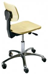 Chaise laboratoire en bois avec pied chromé  sdfc